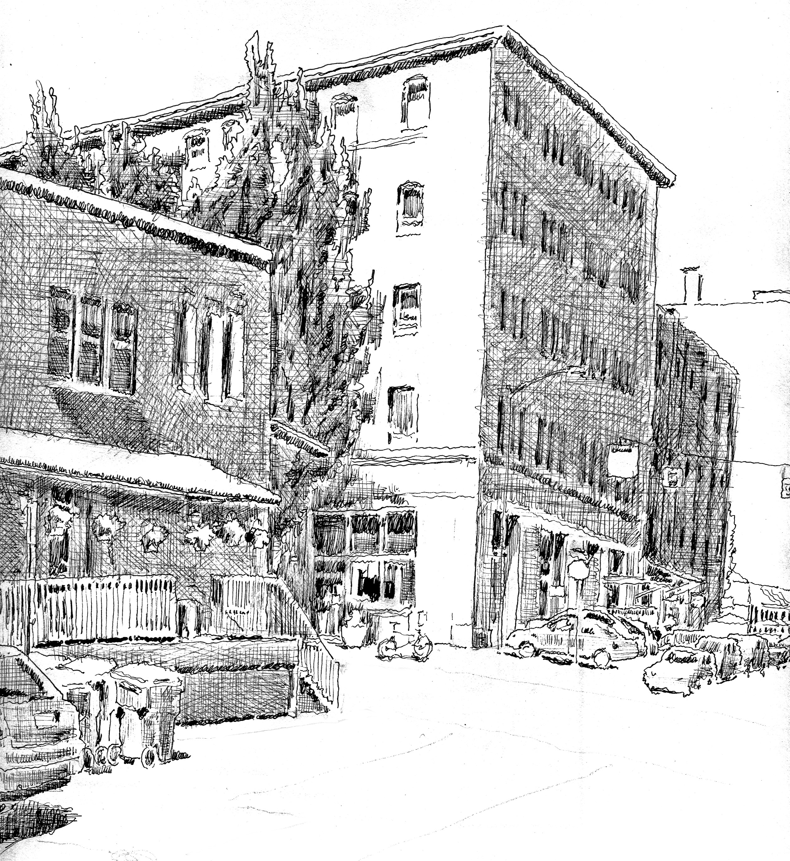 Line Drawing Buildings : Buildings shapes and spaces the sketchbook of kurt d